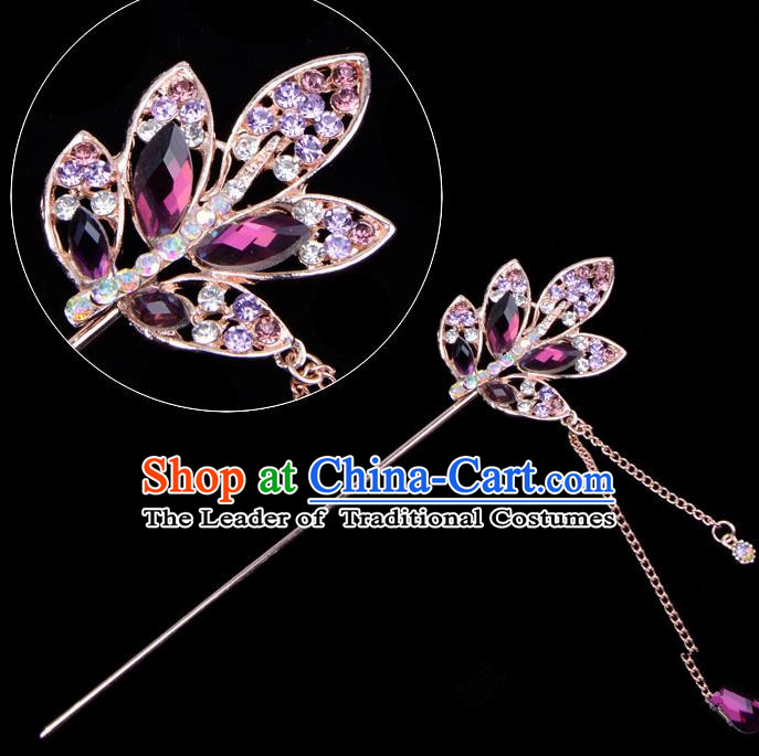 Traditional China Beijing Opera Hua Tan Hair Accessories Purple Crystal Leaf Hairpin, Ancient Chinese Peking Opera Tassel Step Shake Women Hairpins Diva Temple Kanzashi Headwear