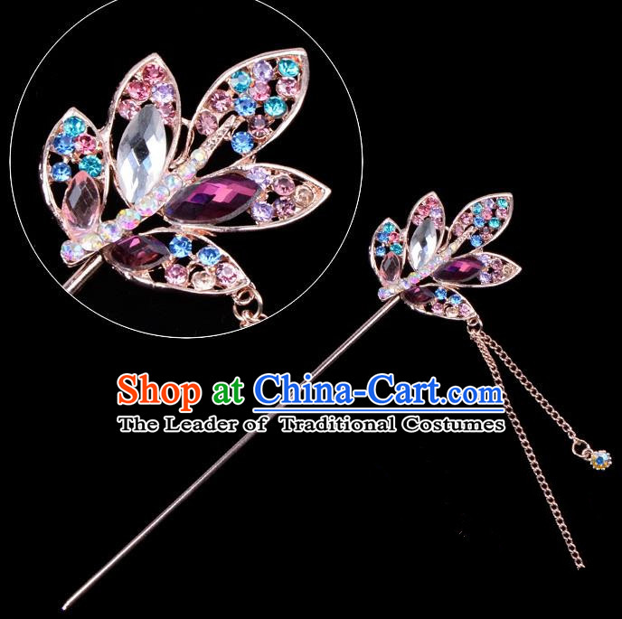 Traditional China Beijing Opera Hua Tan Hair Accessories Colorful Crystal Leaf Hairpin, Ancient Chinese Peking Opera Tassel Step Shake Women Hairpins Diva Temple Kanzashi Headwear