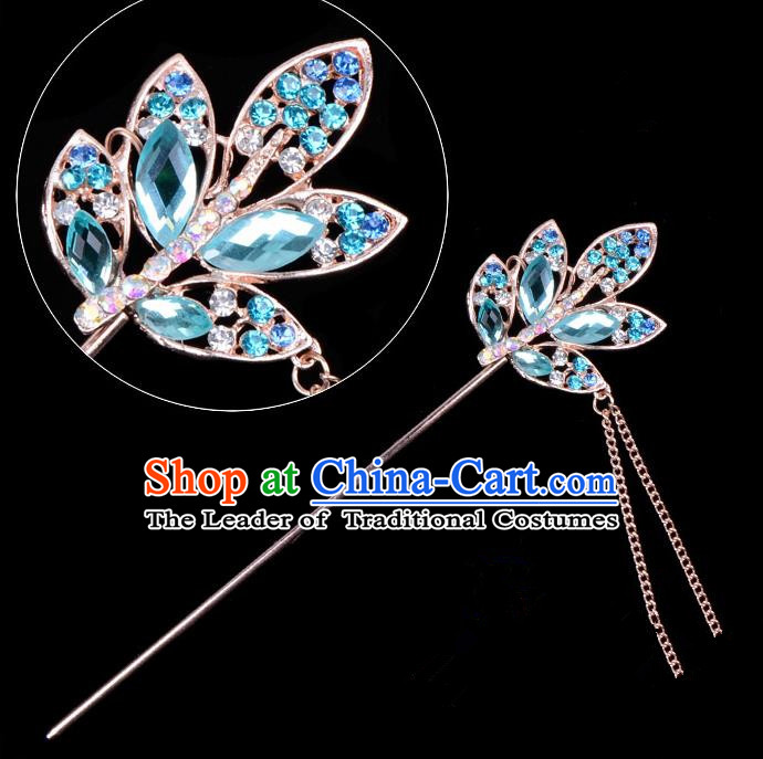 Traditional China Beijing Opera Hua Tan Hair Accessories Blue Crystal Leaf Hairpin, Ancient Chinese Peking Opera Tassel Step Shake Women Hairpins Diva Temple Kanzashi Headwear
