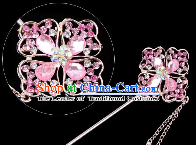 Traditional China Beijing Opera Palace Lady Hair Accessories Pink Crystal Hairpin, Ancient Chinese Peking Opera Tassel Step Shake Women Hairpins Diva Kanzashi Headwear