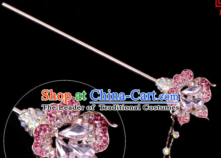 Traditional China Beijing Opera Palace Lady Hair Accessories Pink Crystal Flower Hairpin, Ancient Chinese Peking Opera Tassel Step Shake Women Hairpins Diva Kanzashi Headwear