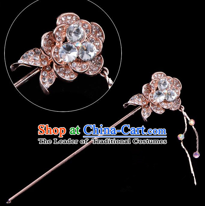 Traditional China Beijing Opera Palace Princess Hair Accessories Crystal Flower Hairpin, Ancient Chinese Peking Opera Tassel Step Shake Women Hairpins Diva Kanzashi Headwear