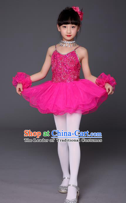 Top Grade Chinese Professional Performance Catwalks Costume, Children Ballet Dance Uniform Modern Swan Dance Rosy Dress for Girls Kids