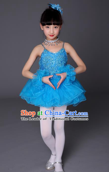 Top Grade Chinese Professional Performance Catwalks Costume, Children Ballet Dance Uniform Modern Swan Dance Blue Dress for Girls Kids