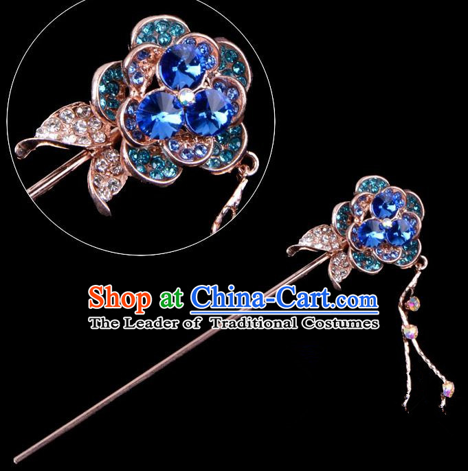 Traditional China Beijing Opera Palace Princess Hair Accessories Crystal Blue Flower Hairpin, Ancient Chinese Peking Opera Tassel Step Shake Women Hairpins Diva Kanzashi Headwear