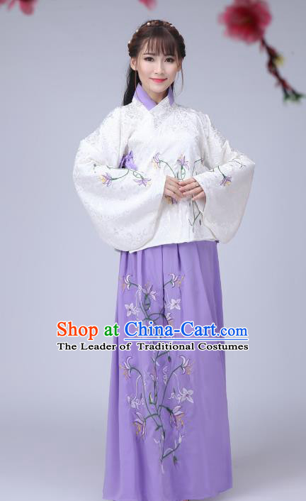 Traditional Ancient Chinese Ming Dynasty Imperial Princess Dance Costume, Elegant Hanfu Chinese Ancient Young Lady Sleeve Placket Embroidered Clothing for Women