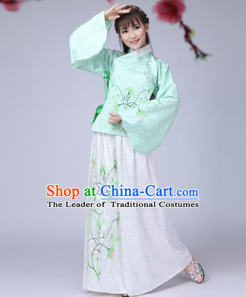 Traditional Ancient Chinese Ming Dynasty Imperial Princess Dance Costume Green Blouse and Skirt, Elegant Hanfu Chinese Ancient Young Lady Sleeve Placket Embroidered Clothing for Women