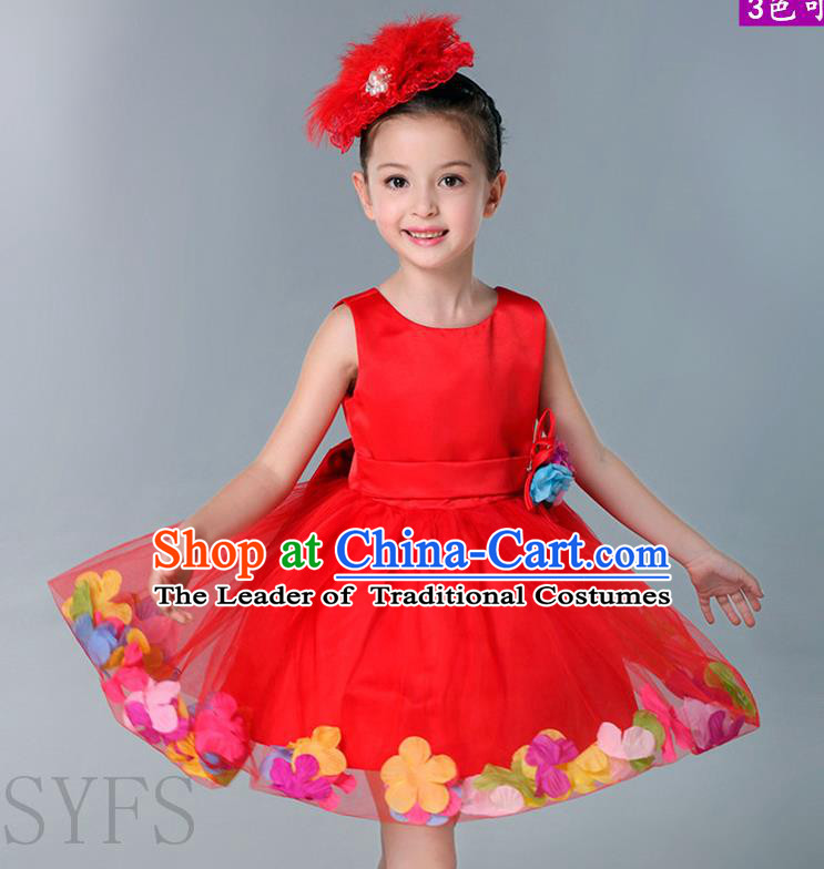 Top Grade Chinese Compere Professional Performance Catwalks Costume, Children Flowers Bubble Dress Modern Dance Red Dress for Girls Kids