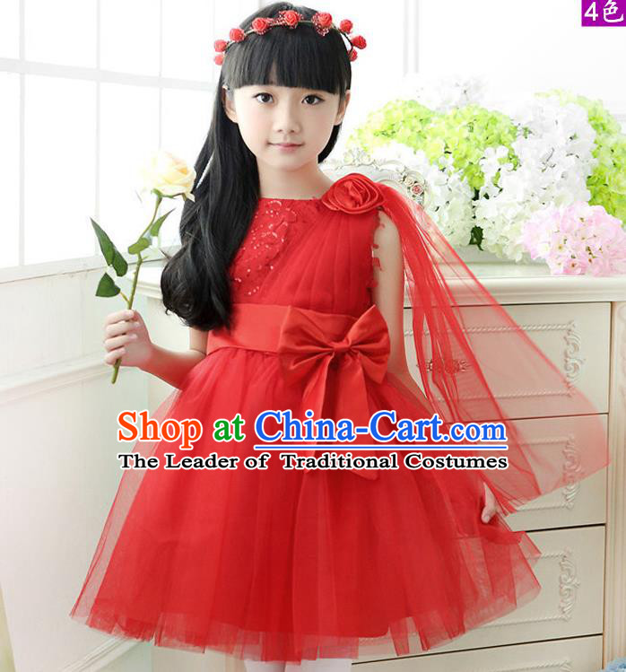 Top Grade Chinese Compere Professional Performance Catwalks Costume, Children Red Veil Bubble Dress Modern Dance Dress for Girls Kids