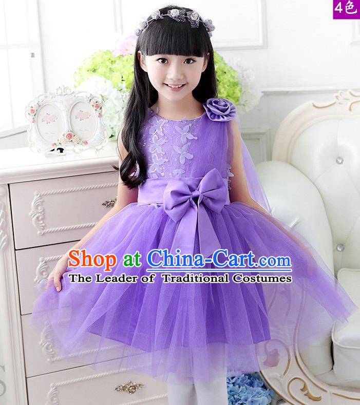 Top Grade Chinese Compere Professional Performance Catwalks Costume, Children Purple Veil Bubble Dress Modern Dance Dress for Girls Kids
