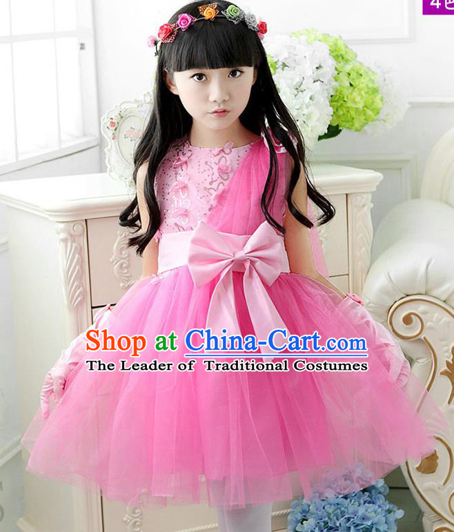 Top Grade Chinese Compere Professional Performance Catwalks Costume, Children Pink Veil Bubble Dress Modern Dance Dress for Girls Kids