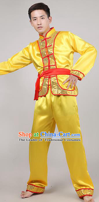 Traditional Chinese Classical Dance Yangge Fan Dance Costume, Folk Dance Drum Dance Uniform Yangko Yellow Clothing Complete Set for Men