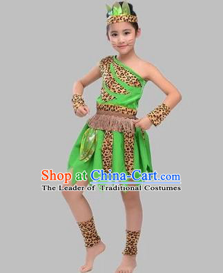 Traditional Chinese Classical Dance Costume, Children Folk Dance Hunter Uniform Green Clothing for Kids