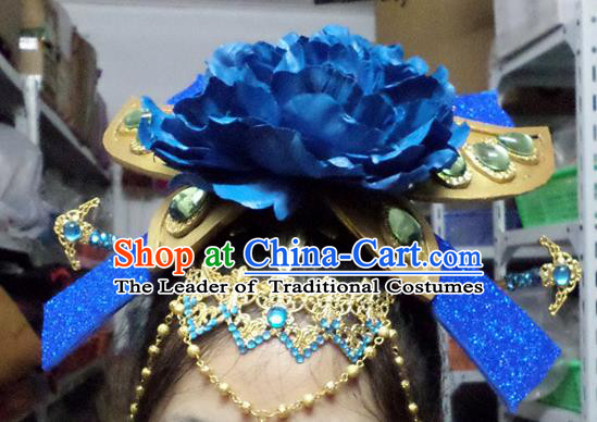 Traditional Handmade Chinese Ancient Classical Hair Accessories, Blue Flowers Step Shake Hair Sticks Hair Jewellery, Hair Fascinators Hairpins for Women