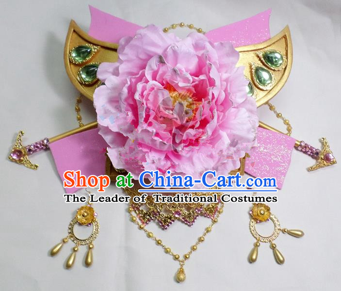 Traditional Handmade Chinese Ancient Classical Hair Accessories, Pink Flowers Step Shake Hair Sticks Hair Jewellery, Hair Fascinators Hairpins for Women