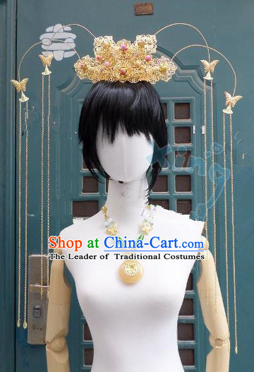 Traditional Handmade Chinese Ancient Classical Hair Accessories Phoenix Coronet, Tassel Step Shake Hair Sticks Hair Jewellery, Hair Fascinators Hairpins for Women