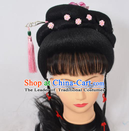 Traditional Handmade Chinese Classical Peking Opera Young Lady Wigs and Hair Accessories, China Beijing Opera Princess Hairpin Hair Headgear