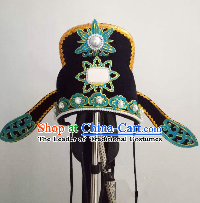 Traditional Handmade Chinese Classical Peking Opera Young Men Hat Black Tuinga, China Beijing Opera Prince Lang Scholar Headpiece Headwear