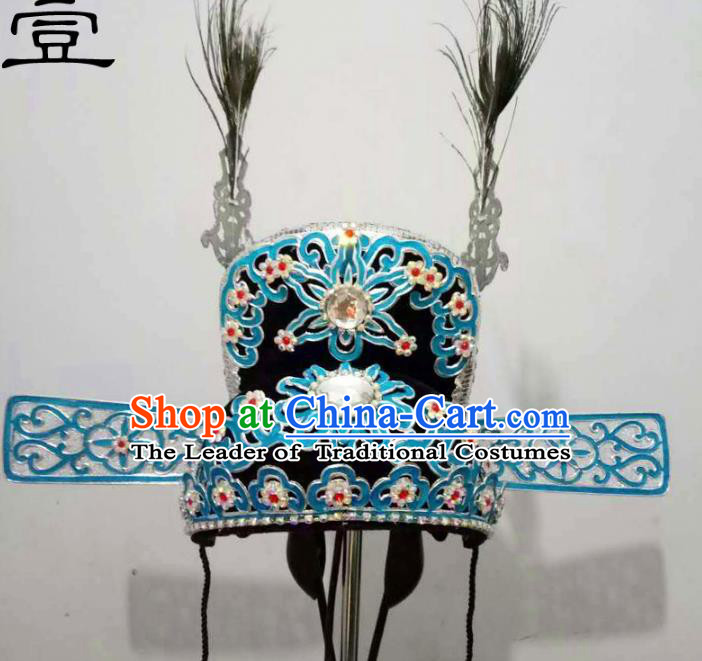 Traditional Handmade Chinese Classical Peking Opera Young Men Hat Blue Tuinga, China Beijing Opera Prince Lang Scholar Headpiece Headwear