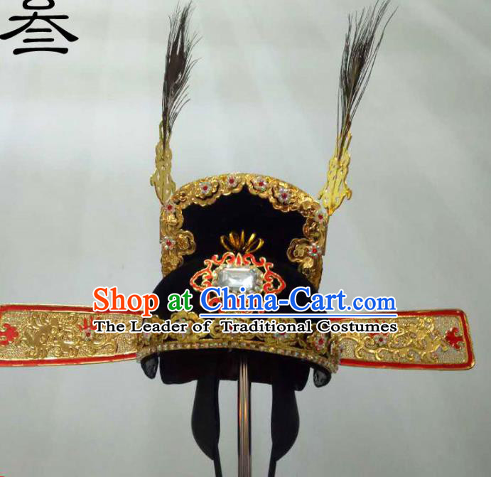 Traditional Handmade Chinese Classical Peking Opera Young Men Hat Golden Tuinga, China Beijing Opera Prince Lang Scholar Headpiece Headwear