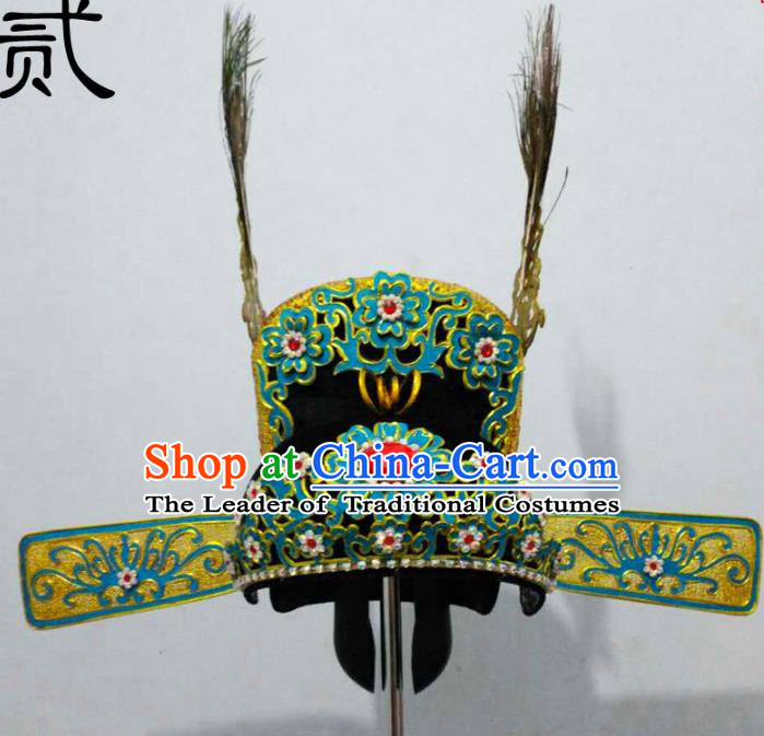 Traditional Handmade Chinese Classical Peking Opera Young Men Hat Green Tuinga, China Beijing Opera Prince Lang Scholar Headpiece Headwear
