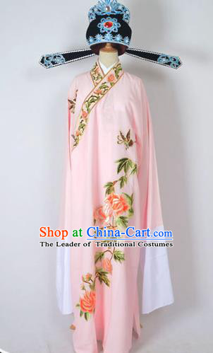 Traditional Chinese Professional Peking Opera Young Men Share-Win Costume and Hat Complete Set, China Beijing Opera Lang Scholar Embroidery Peony Light Pink Long Robe Clothing