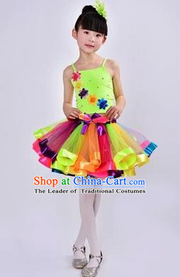 Top Grade Chinese Compere Professional Performance Catwalks Costume, Children Flower Faerie Rainbow Veil Bubble Dress Modern Dance Dress for Girls Kids