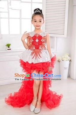 Top Grade Chinese Compere Professional Performance Catwalks Costume, Children Flower Faerie Veil Bubble Dress Modern Dance Red Tailing Dress for Girls Kids