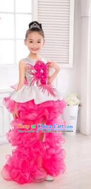 Top Grade Chinese Compere Professional Performance Catwalks Costume, Children Flower Faerie Veil Bubble Dress Modern Dance Rosy Tailing Dress for Girls Kids
