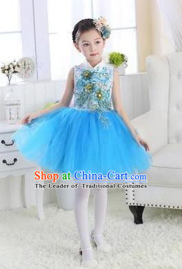 Top Grade Chinese Compere Professional Performance Catwalks Costume, Children Modern Dance Blue Veil Bubble Dress for Girls Kids