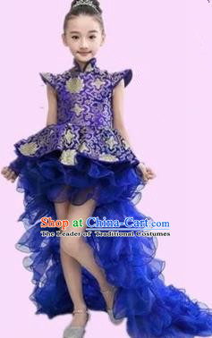 Top Grade Chinese Compere Professional Performance Catwalks Costume, Chinese Children Blue Veil Bubble Dress Drum Dance Tailing Dress for Girls Kids