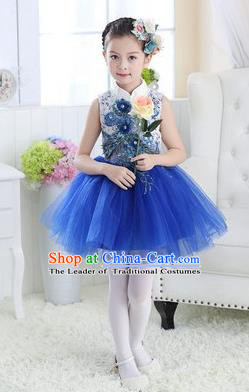 Top Grade Chinese Compere Professional Performance Catwalks Costume, Children Modern Dance Royalblue Veil Bubble Dress for Girls Kids