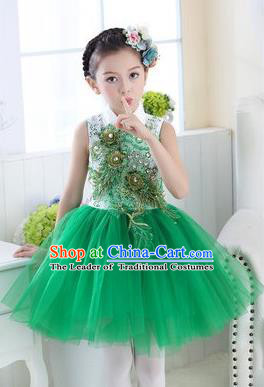 Top Grade Chinese Compere Professional Performance Catwalks Costume, Children Modern Dance Green Veil Bubble Dress for Girls Kids