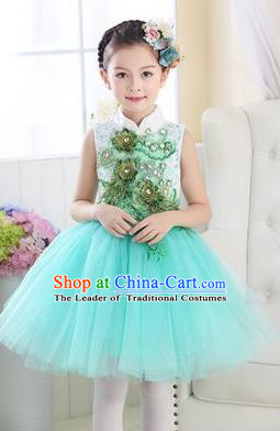 Top Grade Chinese Compere Professional Performance Catwalks Costume, Children Modern Dance Light Blue Veil Bubble Dress for Girls Kids