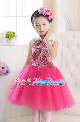 Top Grade Chinese Compere Professional Performance Catwalks Costume, Children Modern Dance Rosy Veil Bubble Dress for Girls Kids
