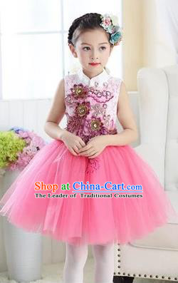 Top Grade Chinese Compere Professional Performance Catwalks Costume, Children Modern Dance Pink Veil Bubble Dress for Girls Kids