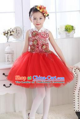Top Grade Chinese Compere Professional Performance Catwalks Costume, Children Modern Dance Red Veil Bubble Dress for Girls Kids