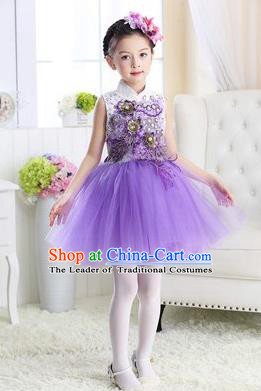 Top Grade Chinese Compere Professional Performance Catwalks Costume, Children Modern Dance Purple Veil Bubble Dress for Girls Kids