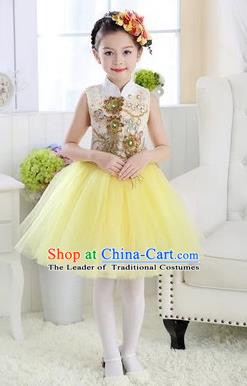 Top Grade Chinese Compere Professional Performance Catwalks Costume, Children Modern Dance Yellow Veil Bubble Dress for Girls Kids