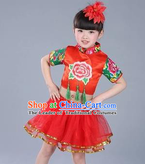 Traditional Chinese Classical Dance Yangge Fan Dance Costume, Children Folk Dance Drum Dance Uniform Yangko Red Clothing for Kids