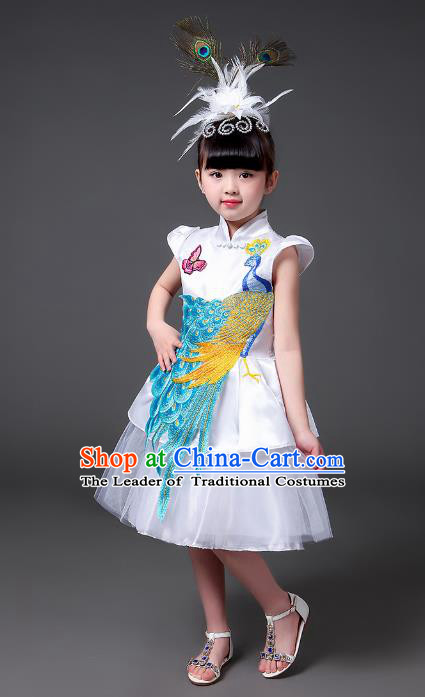 Top Grade Chinese Professional Performance Catwalks Costume, Children Modern Dance Embroidery Peacock White Veil Bubble Dress for Girls Kids