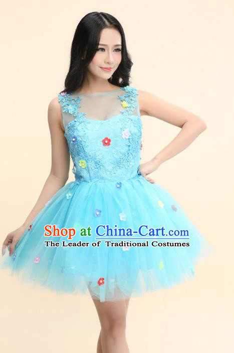 Top Grade Chinese Professional Performance Catwalks Costume, Modern Dance Blue Veil Bubble Princess Dress for Women