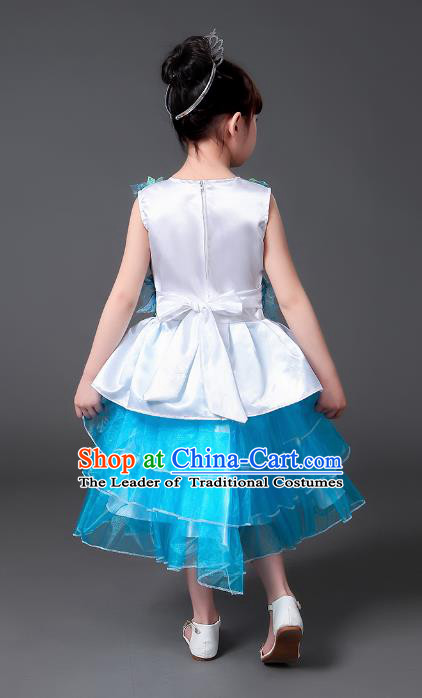 Top Grade Chinese Professional Performance Catwalks Costume, Children Modern Dance Blue Veil Bubble Princess Embroidery Dress for Girls