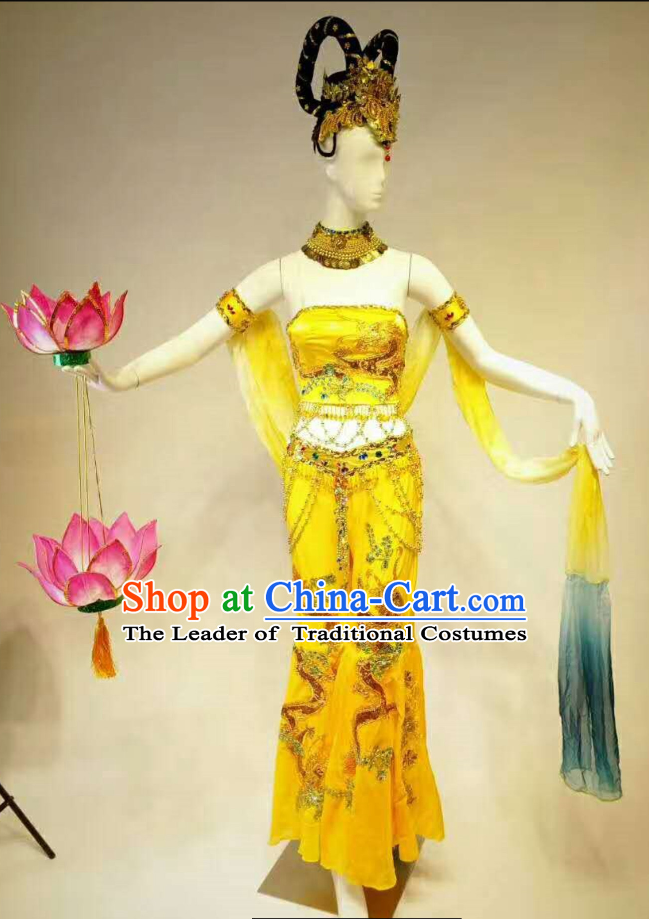 Professional Stage Performance Costumes Made to Order Custom Tailored Dance Costume, Lotus Props and Classical Headpieces Hair Accessories