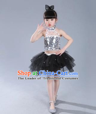 Top Grade Chinese Compere Professional Performance Catwalks Costume, China Jazz Dance Modern Dance Black Veil Princess Dress for Kids