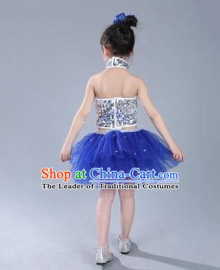 Top Grade Chinese Compere Professional Performance Catwalks Costume, China Jazz Dance Modern Dance Blue Veil Princess Dress for Kids