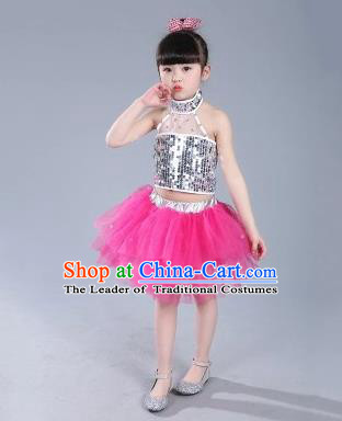 Top Grade Chinese Compere Professional Performance Catwalks Costume, China Jazz Dance Modern Dance Rosy Veil Princess Dress for Kids