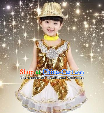 Top Grade Chinese Professional Performance Catwalks Costume, China Jazz Dance Modern Dance Golden Paillette Dress for Girls