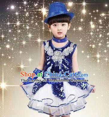 Top Grade Chinese Professional Performance Catwalks Costume, China Jazz Dance Modern Dance Blue Paillette Dress for Girls