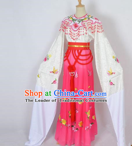 Traditional Chinese Professional Peking Opera Shaoxing Opera Embroidery Costume, China Beijing Opera Female Diva Clothing Zhu Yingtai Rosy Long Robe Dress